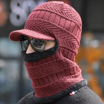 Mens Women Thick Knitting Skull Beanie Cap Neck Scarves Warmer Winter Cap