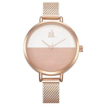 SK K0035 Luxury Women Watches Quartz Clock Creative Wood Pattern Dial Fashion Bracelet Watch