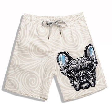 S5246 Men Beach Shorts 3D printing French Bulldog waterproof Fast drying Breathable Board Short