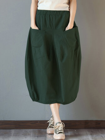 Women Elastic High Waist Basic Cotton Midi Skirts