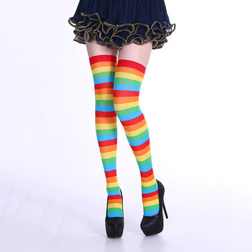 Women Stripe Multi Color Tube Dresses Over the Knee Thigh High Stockings Cosplay Socks