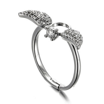 JASSY® 925 Sterling Silver Ring Adjustable Women Finger Ring Sweet Zirconia Angel Wings Wedding Band