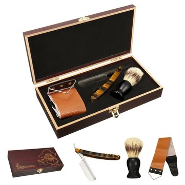 Shaver Kit Cut Throat Straight Razor Shaving Brush Leather Strop Wood Box Gift