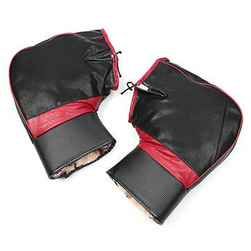 PU Leather Warm Covers Motorcycle Handlebar Muffs Snowmobile Waterproof Winter Hand Gloves
