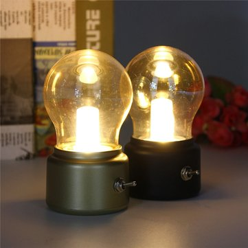 Vintage Globe Lamp Bulb USB Rechargeable LED Kids Bed Bedside Table Night Light