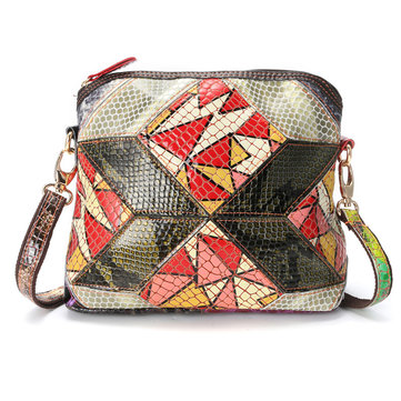 Women Genuine Leather Patchwork Art Shell Bag Crossbody Bag