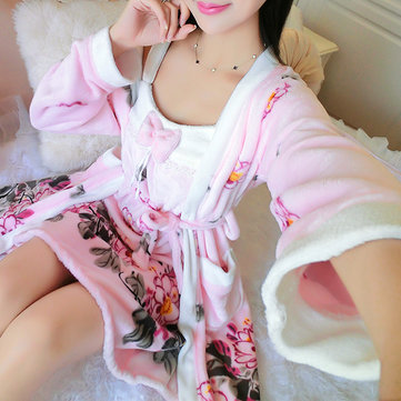 Comfortable Winter Long Sleeve Flannel Bathrobe Cartoon Polka Printed Warm Sleepwear Sets