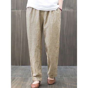 Women Cotton Elastic Waist Striped Harem Casual Trousers Pants