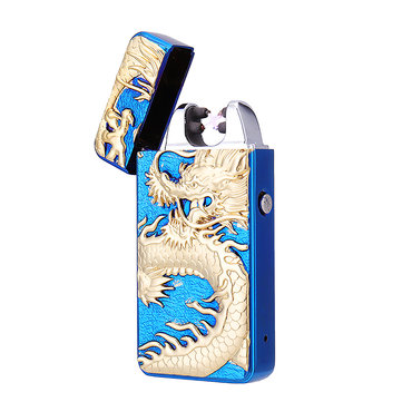 Dragon Emboss Double Pulsed Arc USB Rechargeable Lighter Creative Design Ignitor Starter BBQ Electric Lighter