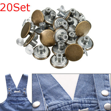 20Set Metal Jean Tack Stud Buttons With Pins Replacement 17mm