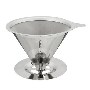 Stainless Steel Pour Over Coffee Dripper Paperless Reusable Double Layer Mesh Coffee Maker Cone Filter