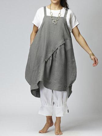 Robe asymétrique en coton de couleur unie sans bretelles pour femme