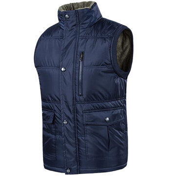 Mens Big Size Stand Collar Solid Color Winter Coat Thick Warm Multi Pocket Vest