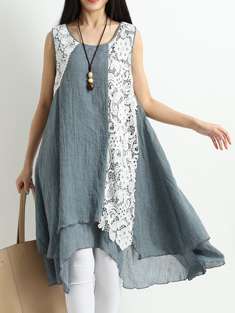 Vintage Women Lace Patchwork Sleeveless Dress