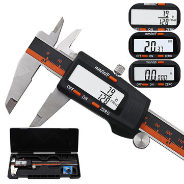 150mm Stainless Steel LCD Screen Display Digital Caliper 6 Inch Fraction / MM / Inch High Precision Stainless Steel LCD Vernier Caliper