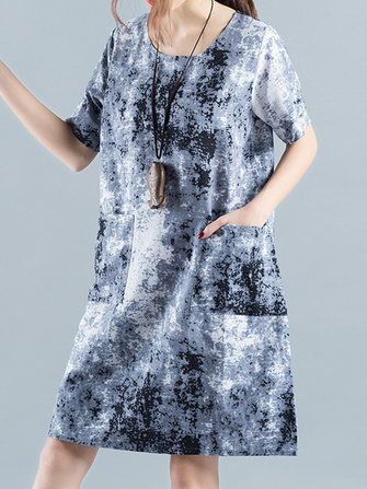 Vintage Women Short Sleeve Printed Pocket O-neck Dresses