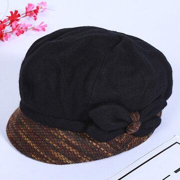 Women Winter Leisure Cotton Earmuffs Newsboy Painter Hat Solid Beret Caps Peaked Cap