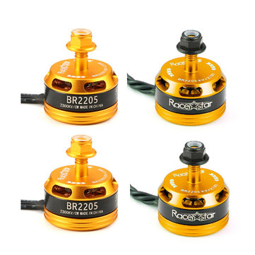 4X Racerstar Racing Edition 2205 BR2205 2300KV 2-4S Brushless Motor Yellow For 210 X220 250 280 RC Drone