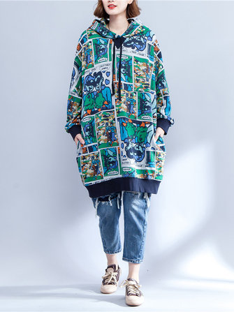 Plus Size Women Cartoon Pattern Long Sleeve Hooded Dress
