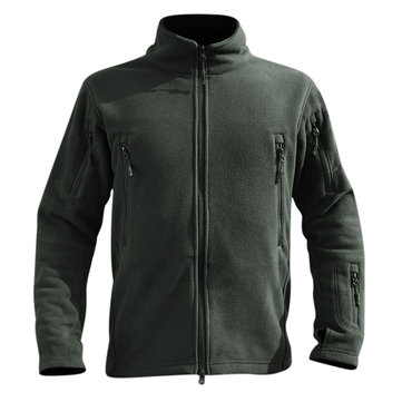 Mens Thick Warm Fleece Outdoor Fit Multi-pocket Tactical Soft Solid Color Jacket