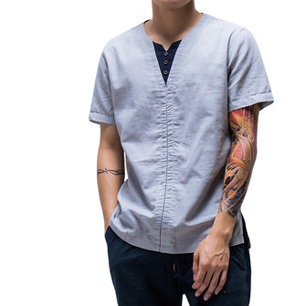 Chinese Style Thin Cotton Linen Solid Color Tops Summer Men's Casual Short Sleeved T-shirt