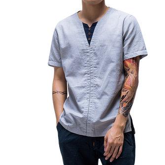 สไตล์จีนผ้าลินินบางผ้าลินินสีทึบฤดูร้อนชายเสื้อลำลองแขนสั้น
