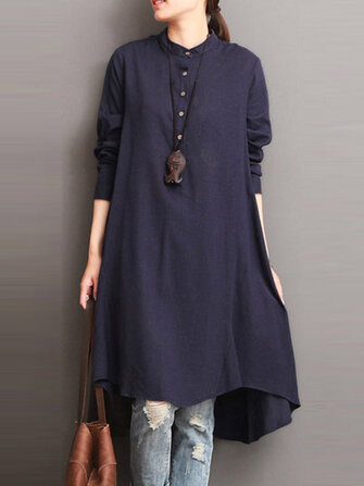 Women Button Down Baggy Blouse Casual Loose Asymmetric Shirt Dress
