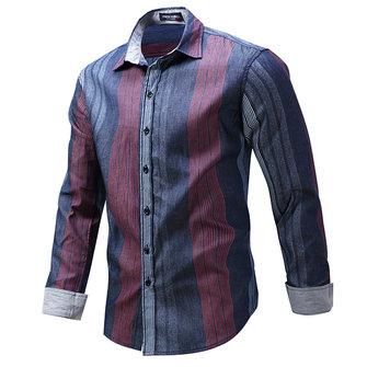 Moda para hombre de rayas de impresión de manga larga de la solapa Botton hasta Camisa