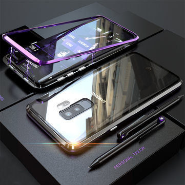 Bakeey 360° Magnetic Adsorption Metal Clear Glass Protective Case for Samsung Galaxy S9/S9 Plus
