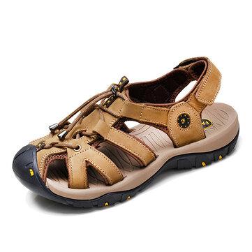 Dimensione ci 6.5-10 uomini casuale sandali di cuoio comode scarpe da outdoor sandali rotondo spiaggia punta