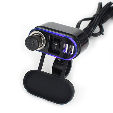 12/24V Waterproof Dual USB Ports Cigarette Lighter Charger 5V 2.1A/1A For Motorcycle Car Boat