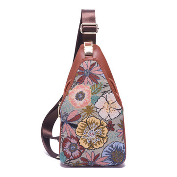 Brenice Embroidery Floral Chest Bags Vintage Crossbody Bag