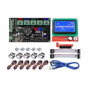 MKS GEN V1.4 Placa base Placa base + 12864 LCD Pantalla Pantalla + 5x A4988 Controlador + 6x Kit de interruptor de límite para impresora 3D