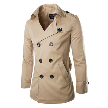 Mens Spring Autumn Double Breasted British Style Trench Coat