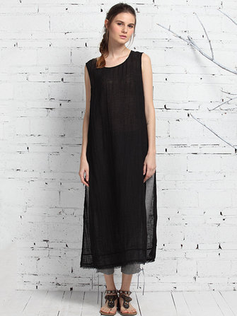 Kvinnor Ärmlös O-Neck Patchwork Split Dress