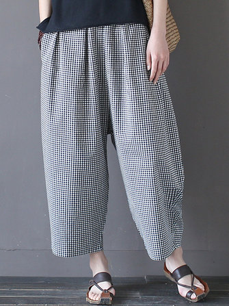 Vintage Plaid Pockets Elastic Waist Loose Pants For Women