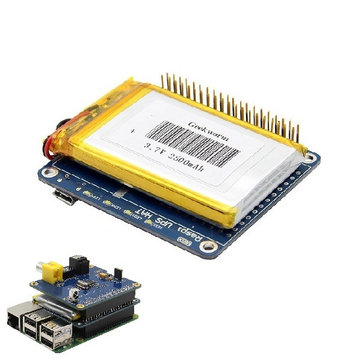 Geekworm UPS HAT Board + 2500mAh Lithium Battery For Raspberry Pi 3 Model B / Pi 2B / B+ / A+