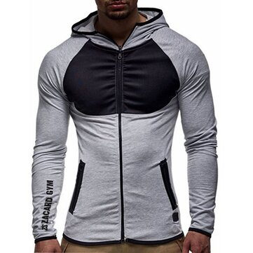 Men's Fashion Cotton Zipper Slim Hoodies Color Block Long Sleeve Casual Sweatshirts