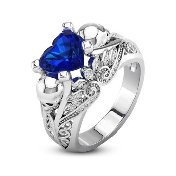 Unique Blue White Zirconia Rings Punk Heart Skull Engagement Wedding Finger Ring for Women