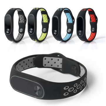Bakeey Replacement Double Color Silicone Strap Smart Wristband Bracelet for Xiaomi Miband 2