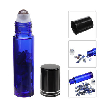 10Pcs Natural Crystals Glass Essential Oil Gemstone Roller Ball Chip Inside Bottles