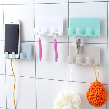 Bathroom Storage Rack Wall Mounted Shaver Holder Organizer 4 Hanger Hooks Towel Shelf Key Peg Strong Suction Phone Charging Racks