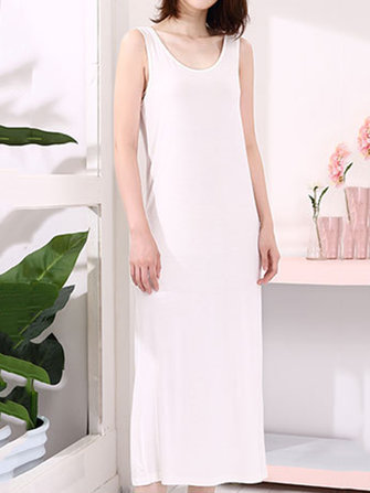 Casual Women Pure Color Sleeveless Modal Vest Dresses