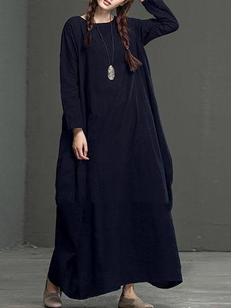 Celmia Casual หลวม Long Sleeve ผู้หญิงที่เป็นของแข็ง Maxi Dresses