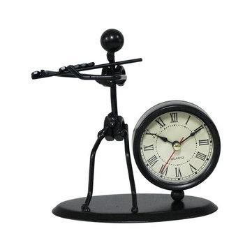 Band Clock Sets Retro Wrought Iron Clock Personality Living Room Study Room Decor Desktop Watch Home Bedroom Decorative Clock