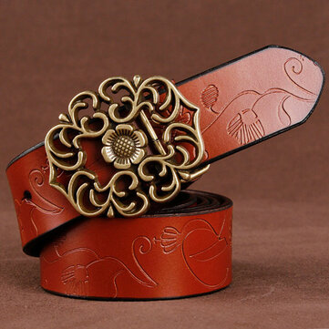 110CM Women 100% Second Layer Belt Cow Genuine Leather Flower Strap Retro Lotus Leaf Buckle Belts