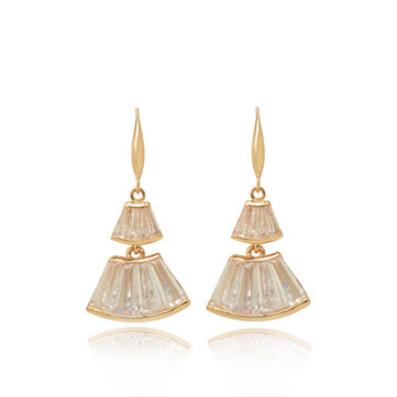 Gold Zircon Ear Drop Fan Shaped Skirt Earrings Gift For Women