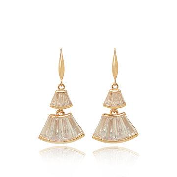 Or zircon oreille goutte fan en forme de jupe boucles d'oreilles cadeau pour les femmes