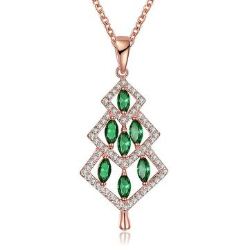 INALIS Christmas Tree Pendant Green Zirconia Necklace Gift