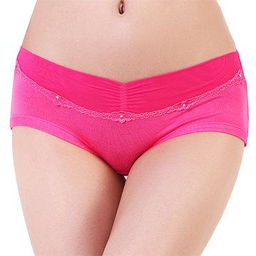 Women Sexy Lace Hem Low Rise Breathable Panties Mesh Waist Breathable Briefs